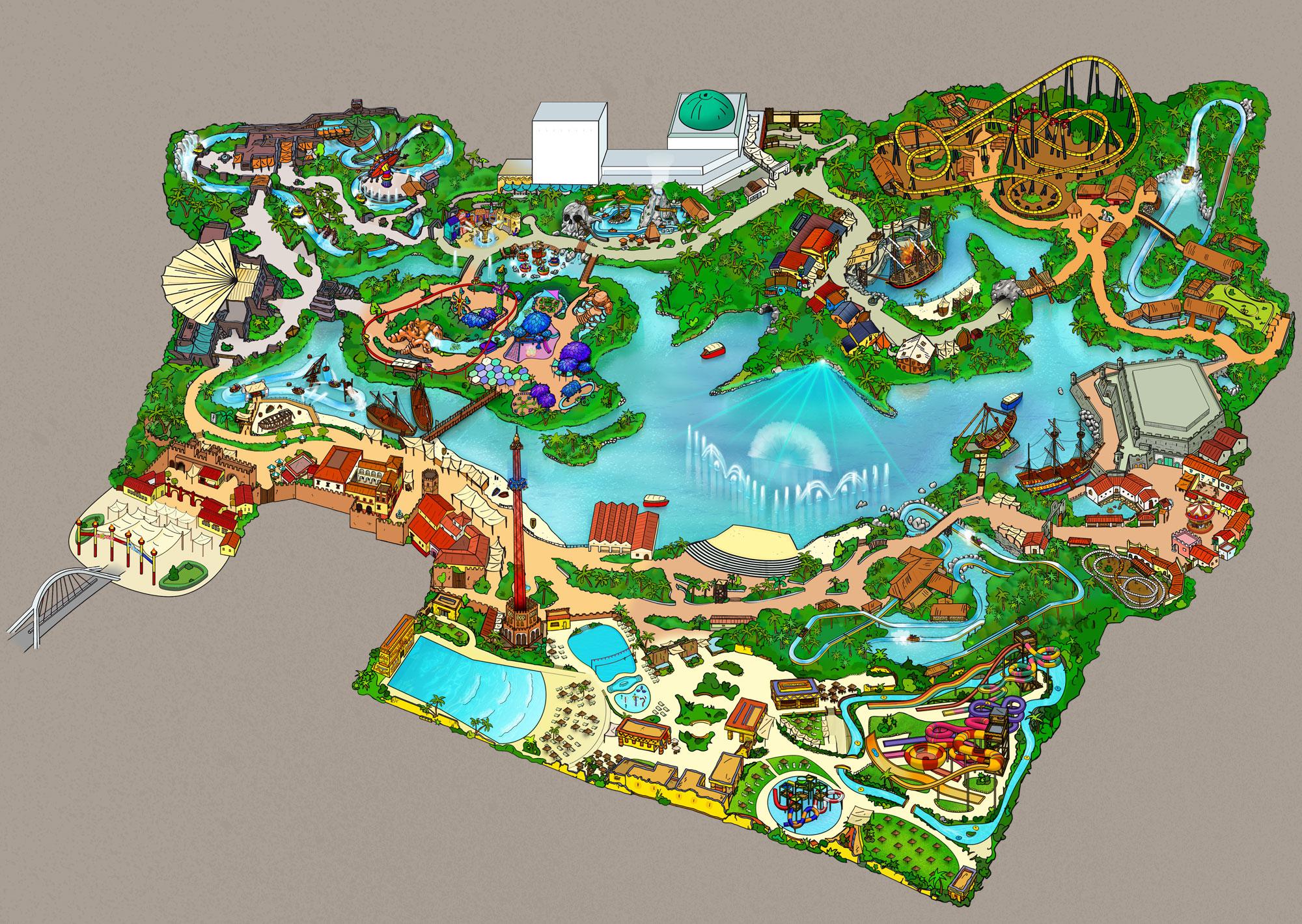 Map And Theme Areas Isla Magica Theme Park Sevilla