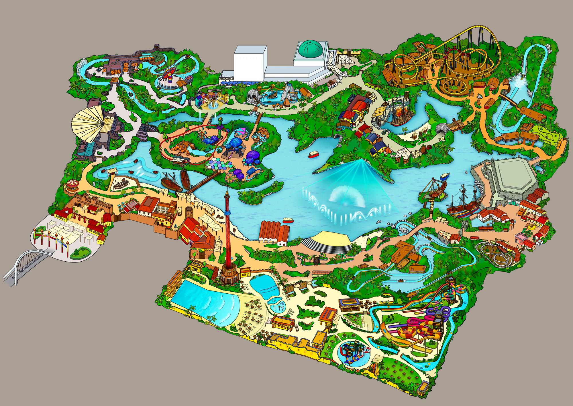Map and theme areas - Isla Mágica Theme Park Sevilla